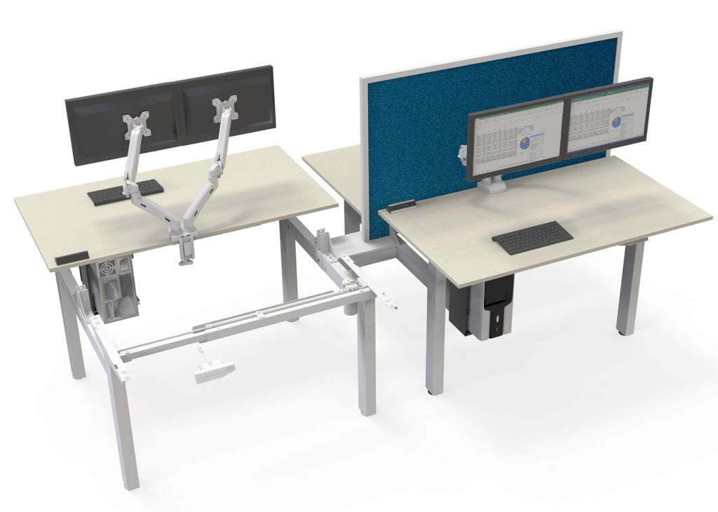 EDF24QS electric double standing desk workstation working bench