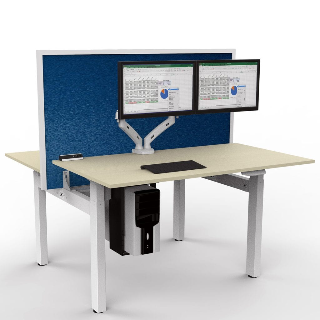 edf24q electric sit stand desk privacy screen monitor arm