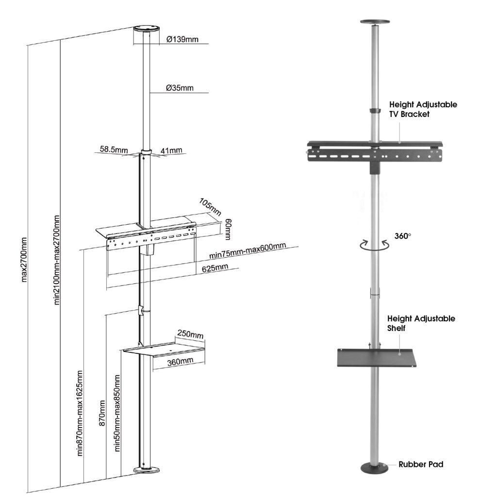 FCM63M floor ceiling tv mount tension pole features sizes dimensions diagram