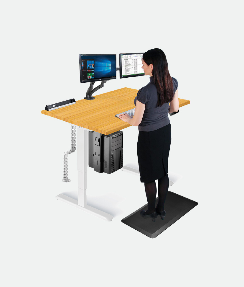 Ergonomic office furniture standing desks, monitor arms, desk power, CPU holders