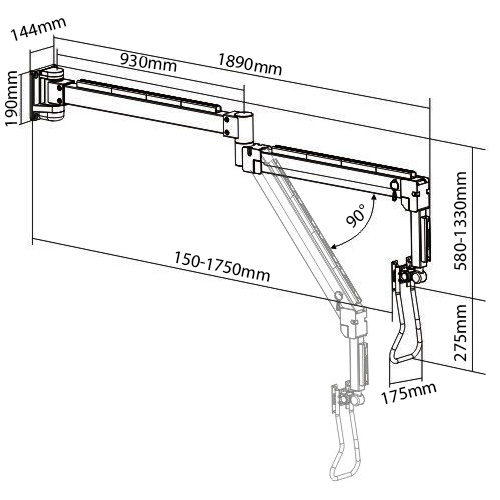 Allcam LRA34 long reach LCD arm sizes dimensions diagram
