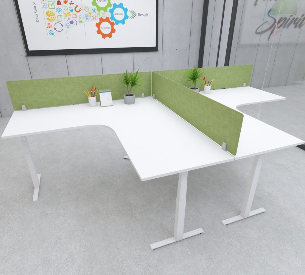 s164 desk top privacy screen modesty panel green