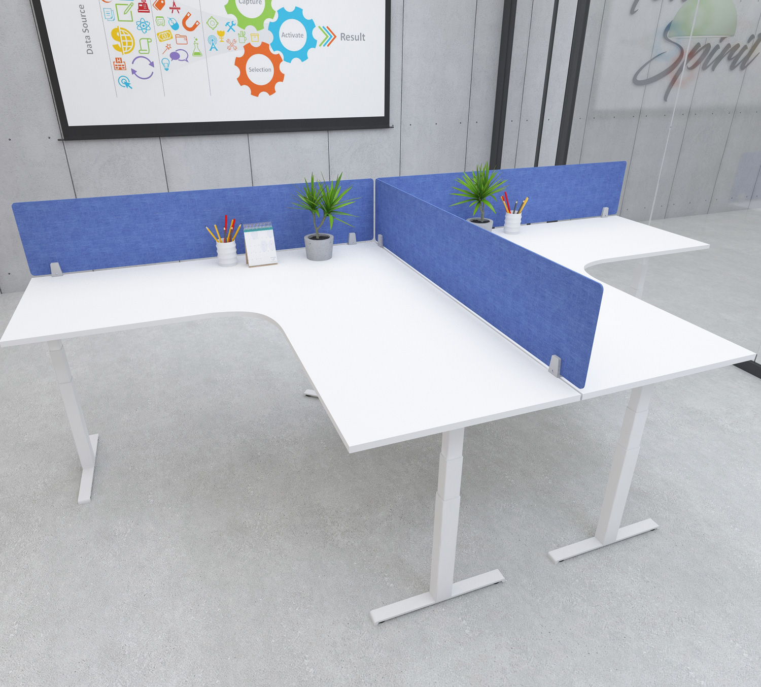 s164 desk top privacy screen modesty panel blue
