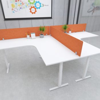 s164 desk top privacy screen modesty panel orange