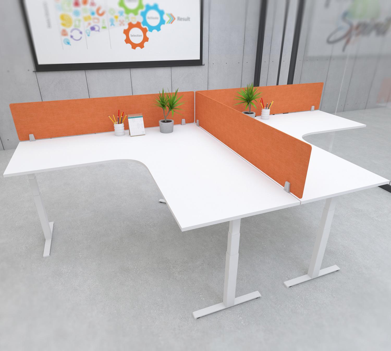 s164 desk top privacy screen modesty panel orange