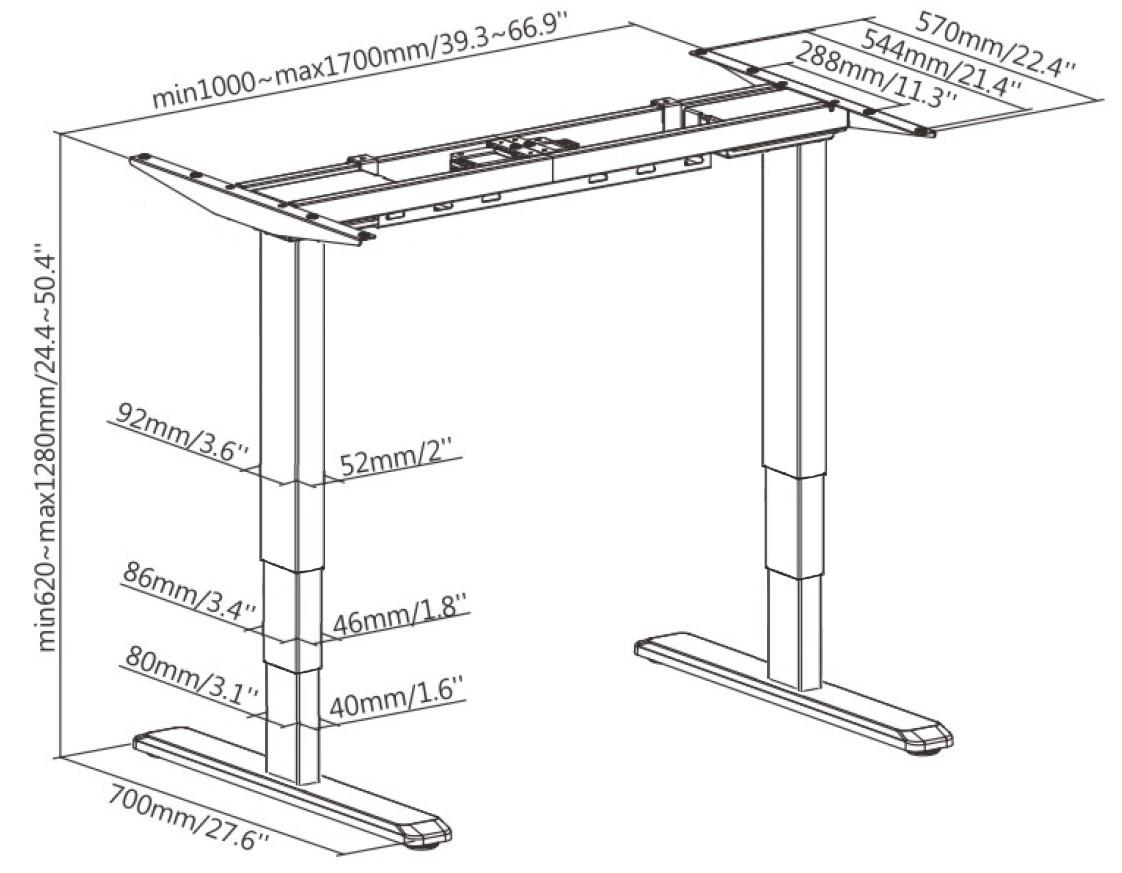 Allcam EDF12D Electric Standing Desk Frame w/Dual motors, 3 Memory Pre-sets, 63-125cm Height Adjustable