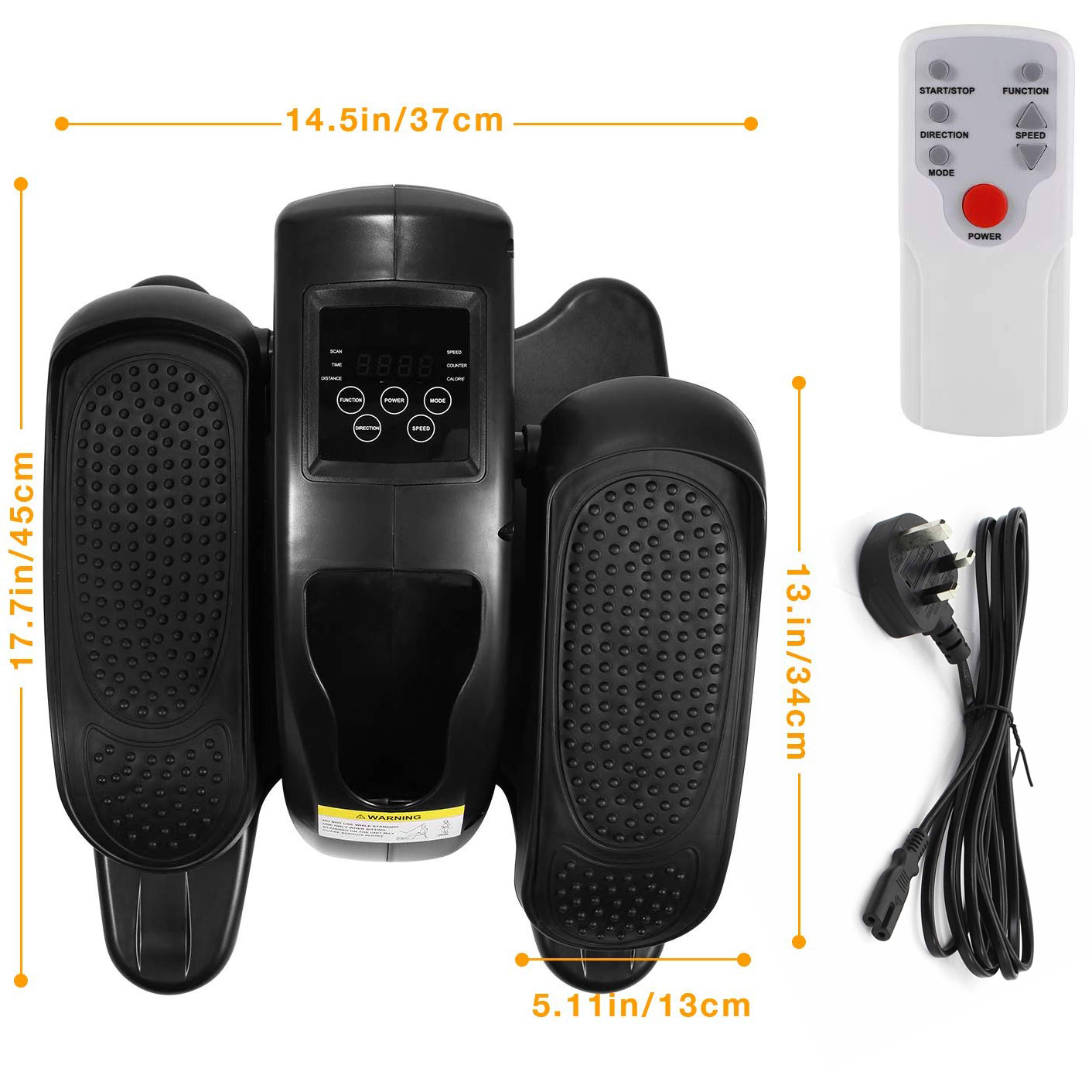 Allcam EUB10B mini electric elliptical bike passive exerciser box content