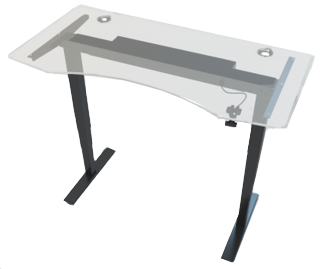 Allcam GDF12B gas spring sit stand desk glass top