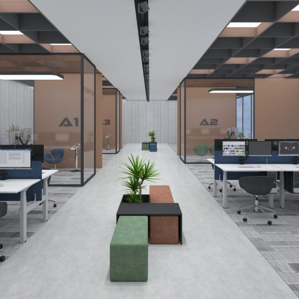 Open plan office fitted with Allcam EDF14Q back-to-back sit-stand desks