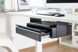 Allcam US022 Under-desk storage drawer & laptop shelf mounted open