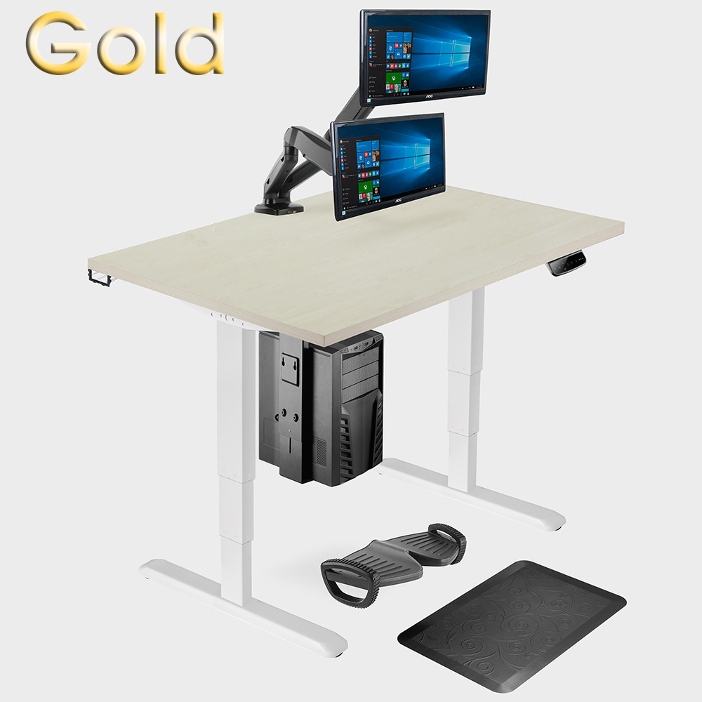Gold ergonomic office suite sit-stand desk & accessories home working