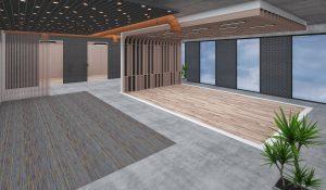 empty open plan office before EDF13T radial standing desk installation