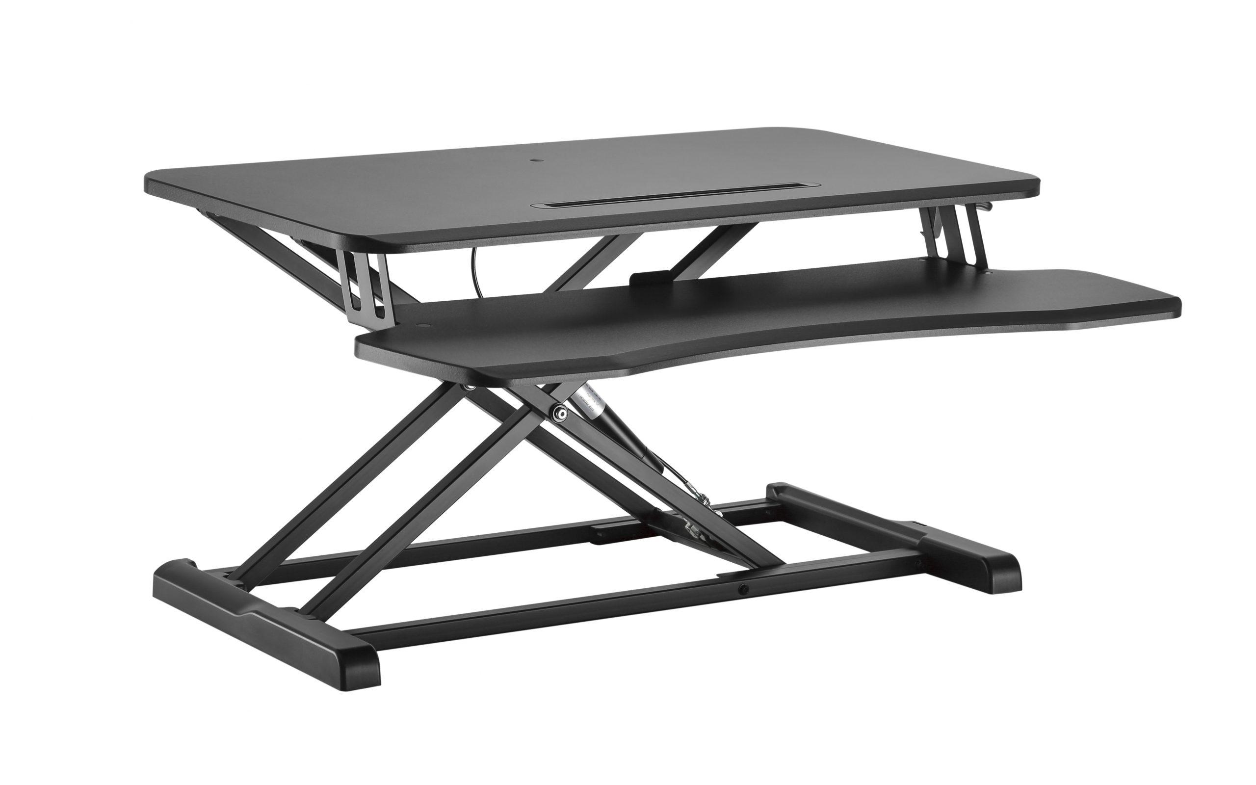 GSS061A Sit-stand desk converter standing workstation gas spring height adjustable black