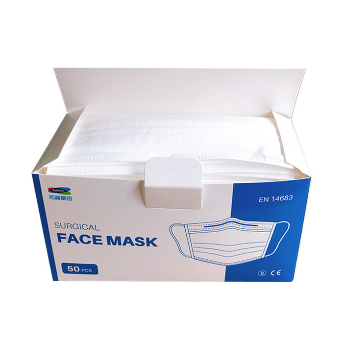 Type II R 3 ply non woven disposable surgical face masksbox of 50 open