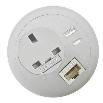 office desk-top grommet power USB A C PD RJ45 network lan white top