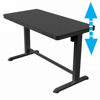 Allcam ED20B electric height adjustable sit stand desk with storage drawer and usb chargers