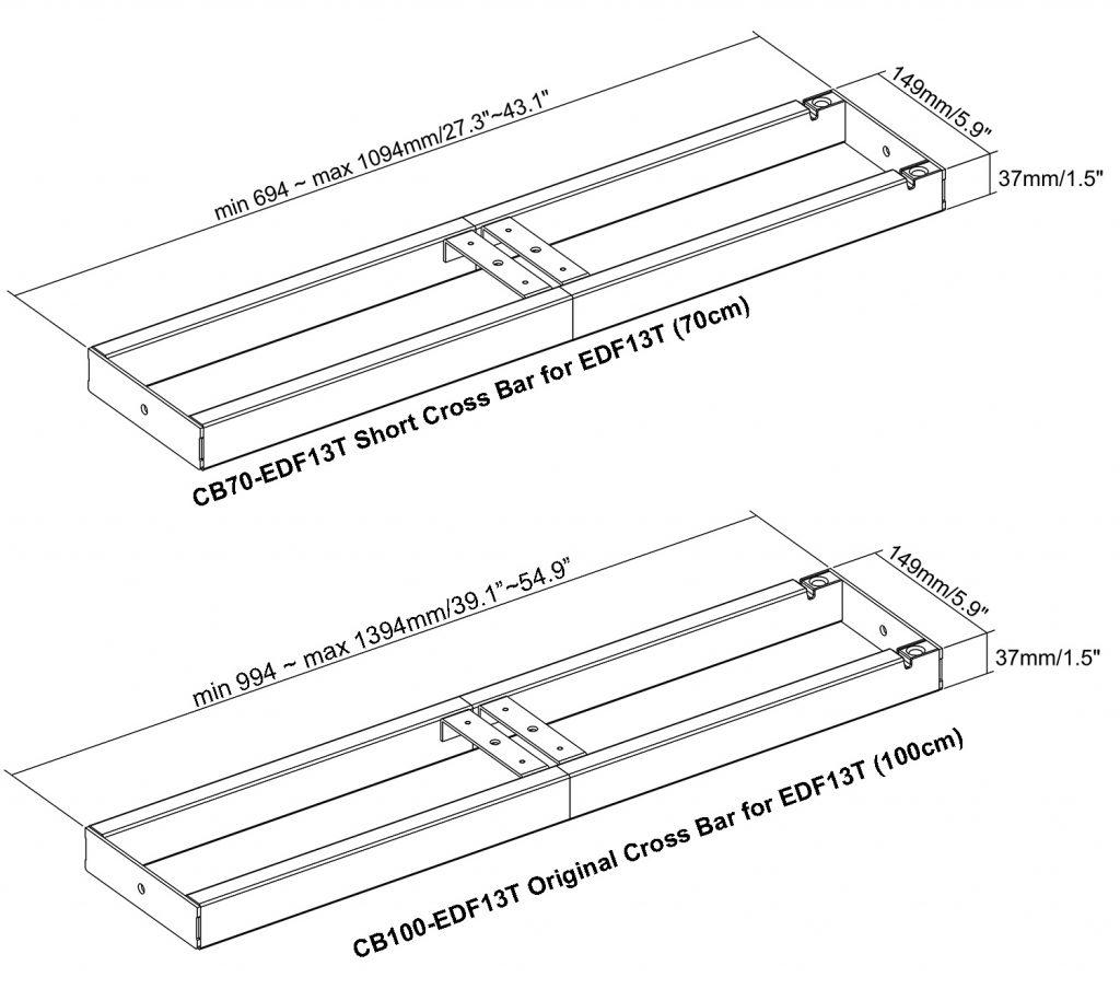 EDF13T electric sit-stand desk frame standing desk size diagram drawing shorter frame crossbar