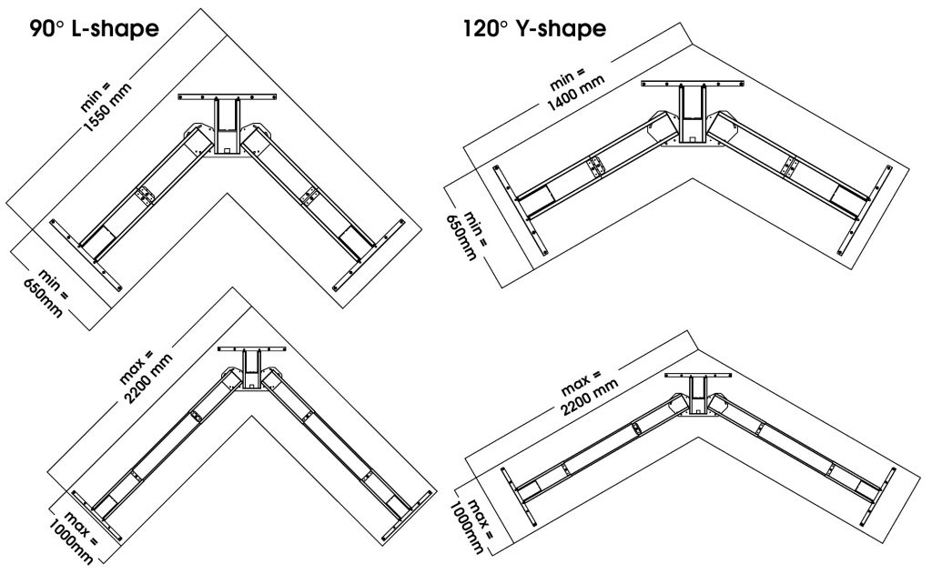 EDF13T sit-stand standing radial desk supported max min top size diagram drawing