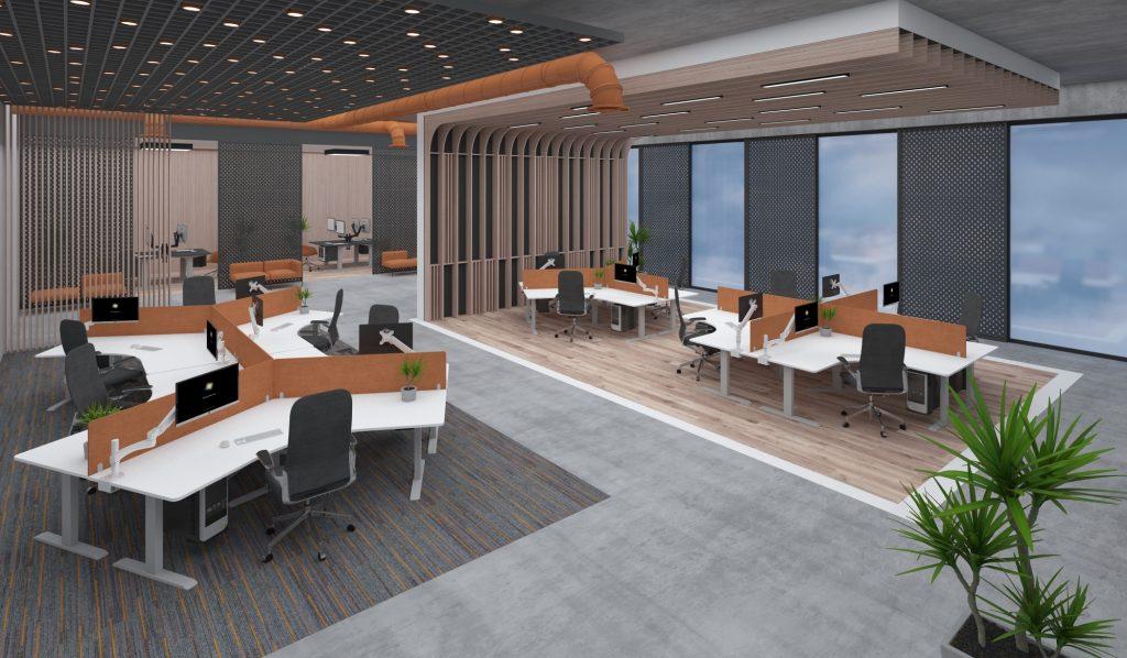 EDF13T triple motor sit-stand desk sanding workstation open plan office