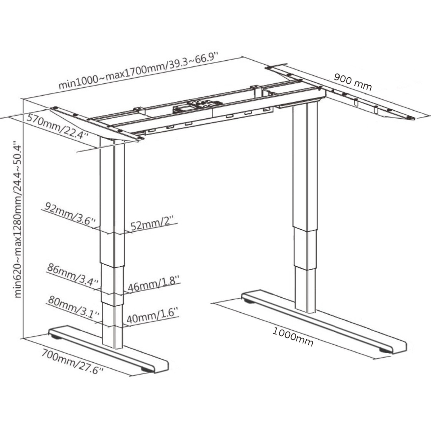 EDF12+RDK Electric Dual-motor Height-adjustable Standing Radial Desk Frame size dimensions diagram