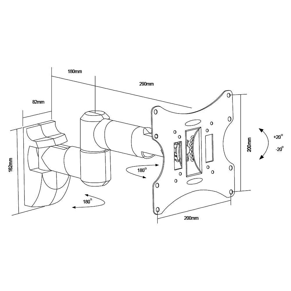 LCD503A Universal 23″-42″ LCD Wall Mount Bracket Articulate Arms VESA 200×200 Sizes dimensions drawing