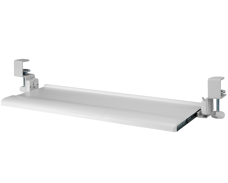 KBT08T Clamp-on Tilting Keyboard Tray w/ Wrist Rest in White