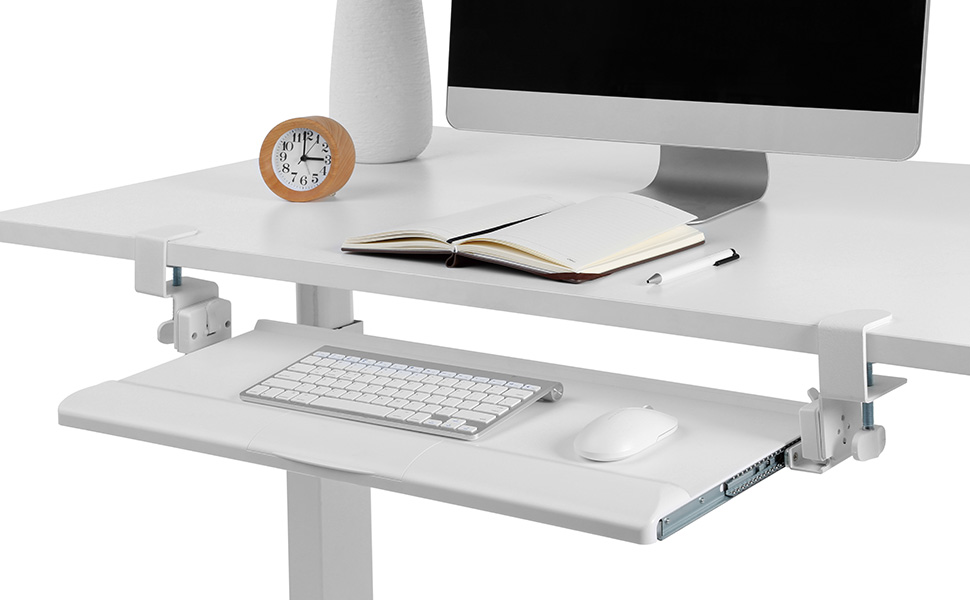 KBT08T Clamp-on Tilting Keyboard Tray w/ Wrist Rest Whit Mac Desk