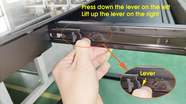 Allcam ED20 sit-stand standing desk remove the sliding drawer