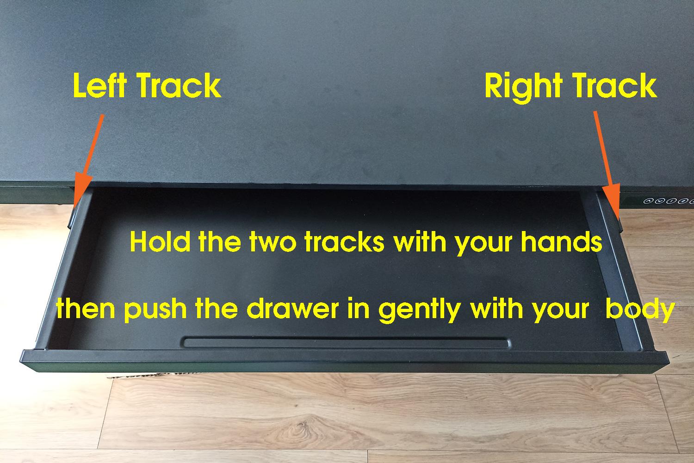 Allcam ED20 sit-stand standing desk: fix sliding drawer